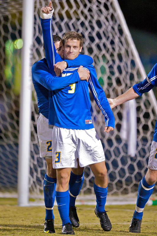 UCSB captain, #3, David Walker celebrates with teammate #2, Michael Boxall during a match against Wofford College at the University of California at Santa Barbara at Harder Stadium in Goleta, Calif., Thursday, Nov. 19, 2009. UCSB went on to win 1-0.