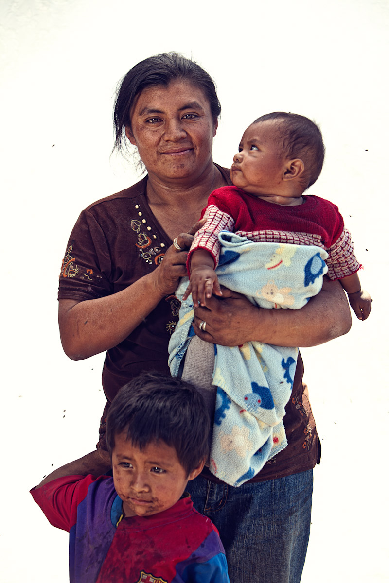 Mother and children, El Tejar, Guatemala