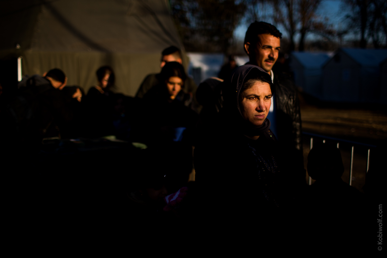 Refugees waiting for the registration in Presevo Coming across the border at all hours, day and night, registration in Presevo camp.