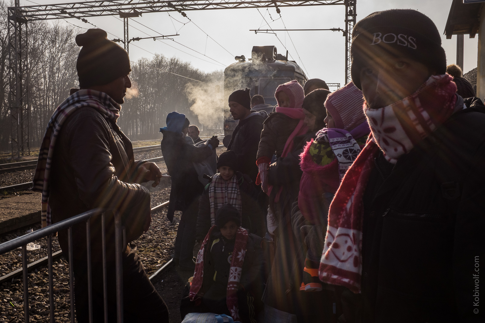 Refugee gets the train to Sid on Serbia Croatia border.