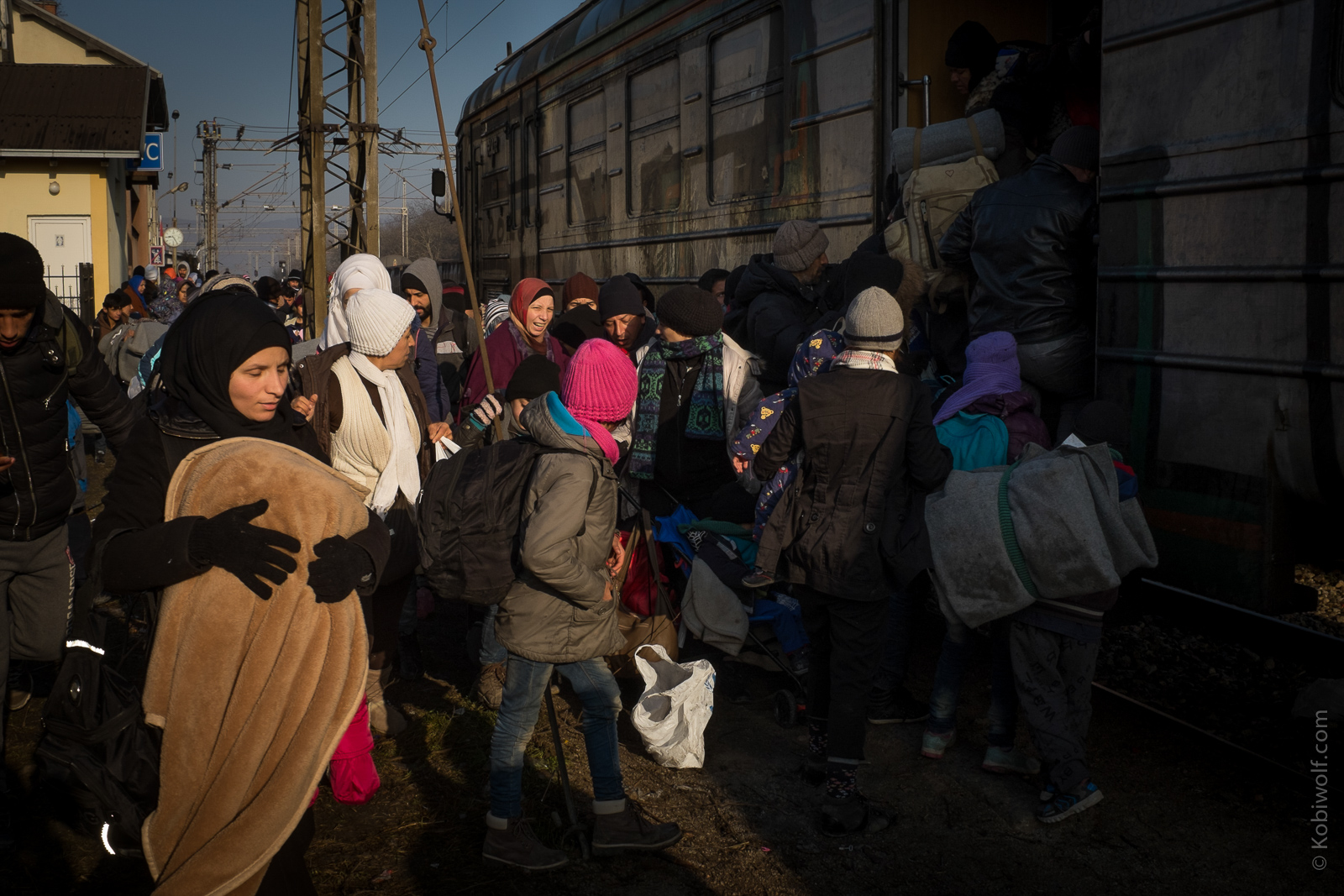 Refugee gets the train to Sid on Serbia Croatia border