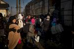 Refugee gets the train to Sid on Serbia Croatia border