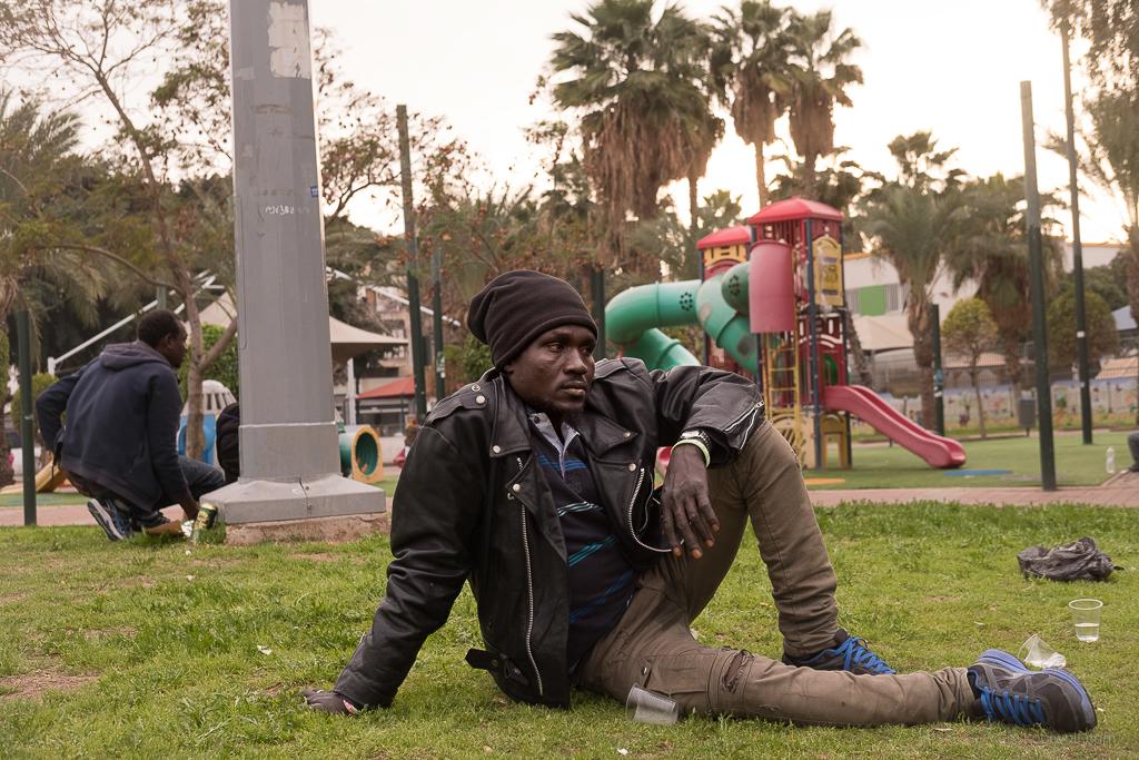 Asylum seekers From Darfur lives in Levinski Garden in south Tel Aviv
