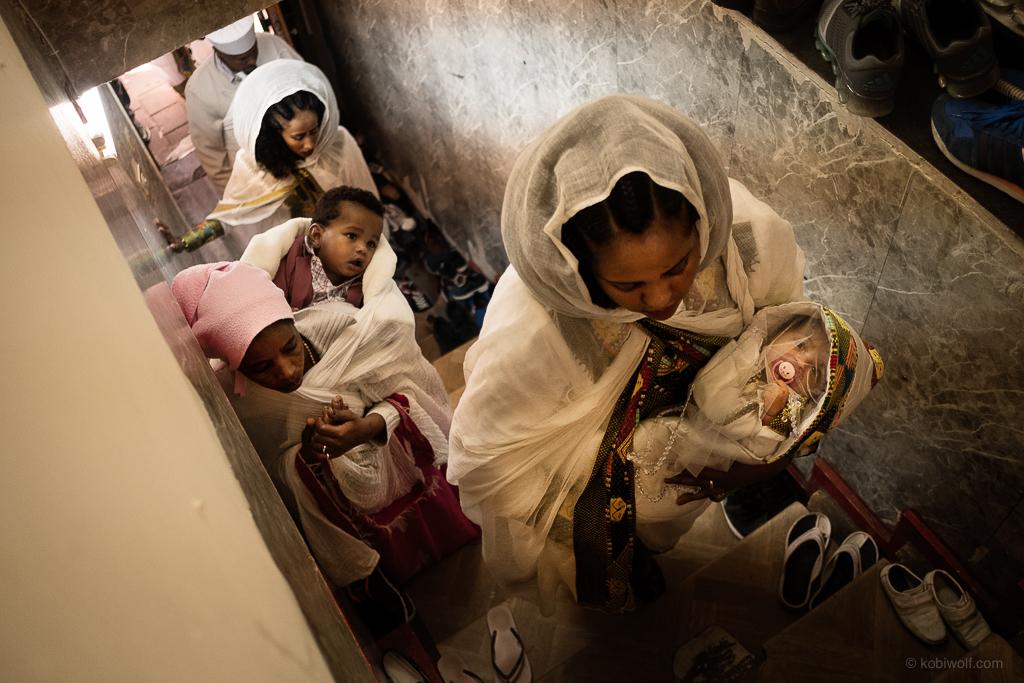 Ortodox Eritean Asylum seekers in a church in Tel Aviv
