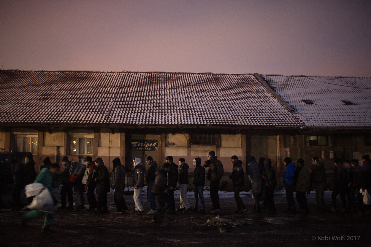 Refugees in a warehouse in Belgrade