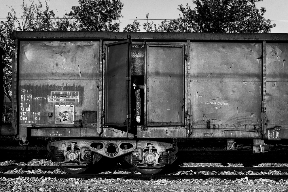 a man in railroad car
