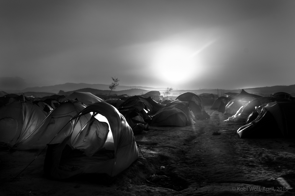 Tents during a sand storm, many refugees lost their tents