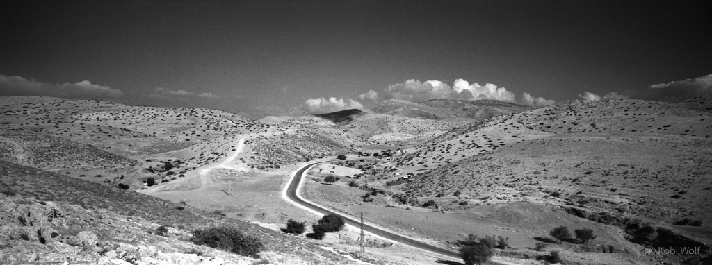 A land scape of Jordan Valley, the road leading to Nablus.