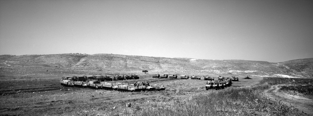 IDF's tanks on a Palestinians farmland after a military exercises.
