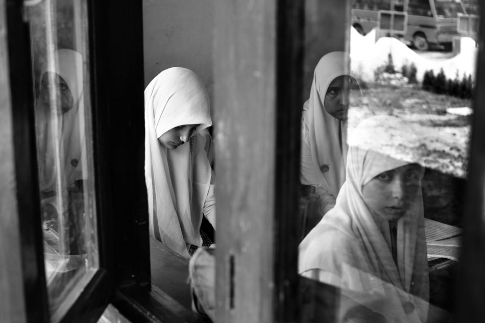 "Students at ""Banat Institute of Education"", an orphan girls school in Srinagar. Some of the girls are daughters of {quote}disappeared men{quote} in Kashmir"