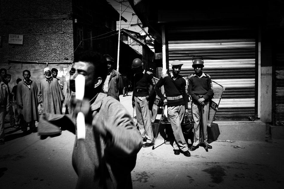 Muslim demonstrations held outside Jami Masjid mosque in Srinagar following Friday prayers.