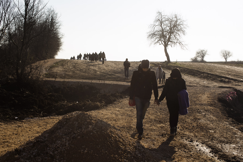 Syrian refugee in Presevo , Serbia