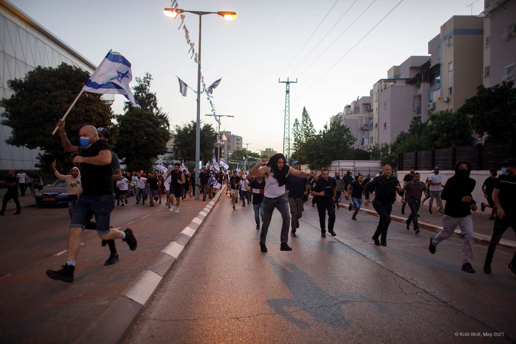 Far right jewish during  a demo against the Israeli Arab in the city of Ramla in Ramla Israel on May 11 2021