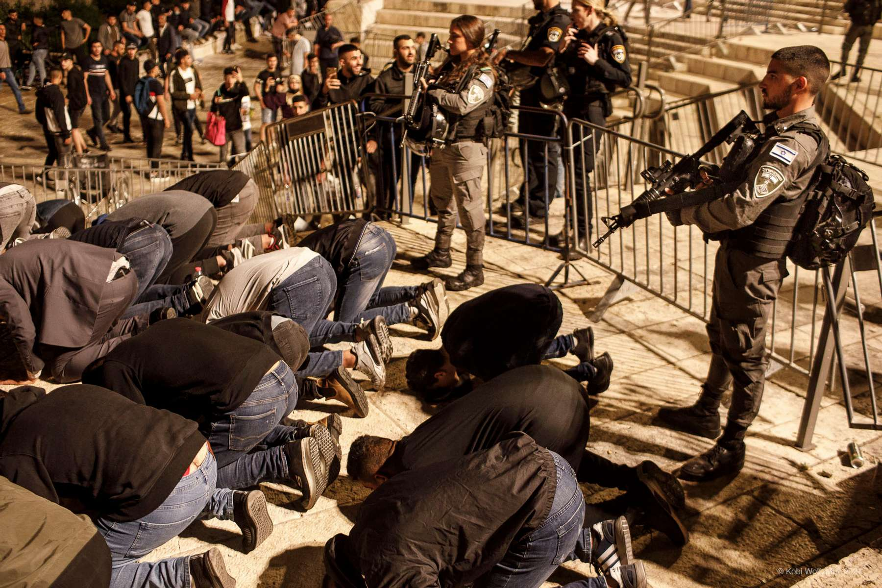 A protest of Palestinians outside Damascus Gate in the  Old City of Jerusalem on April 24, 2021 Photographer: Kobi Wolf