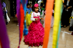 African refugees children celebrate The Jewish holiday Purim