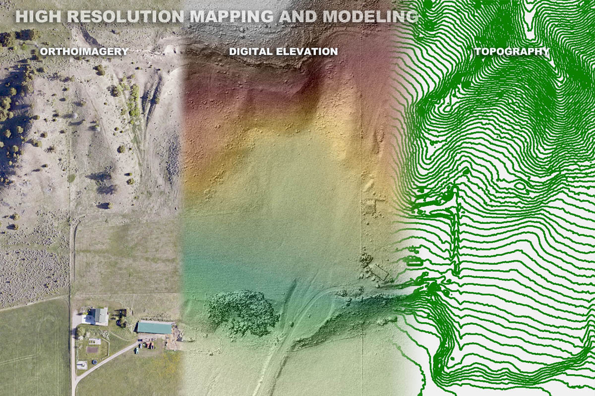 Orthoimagery, hillshade, and topographic map of a Montana Farm.