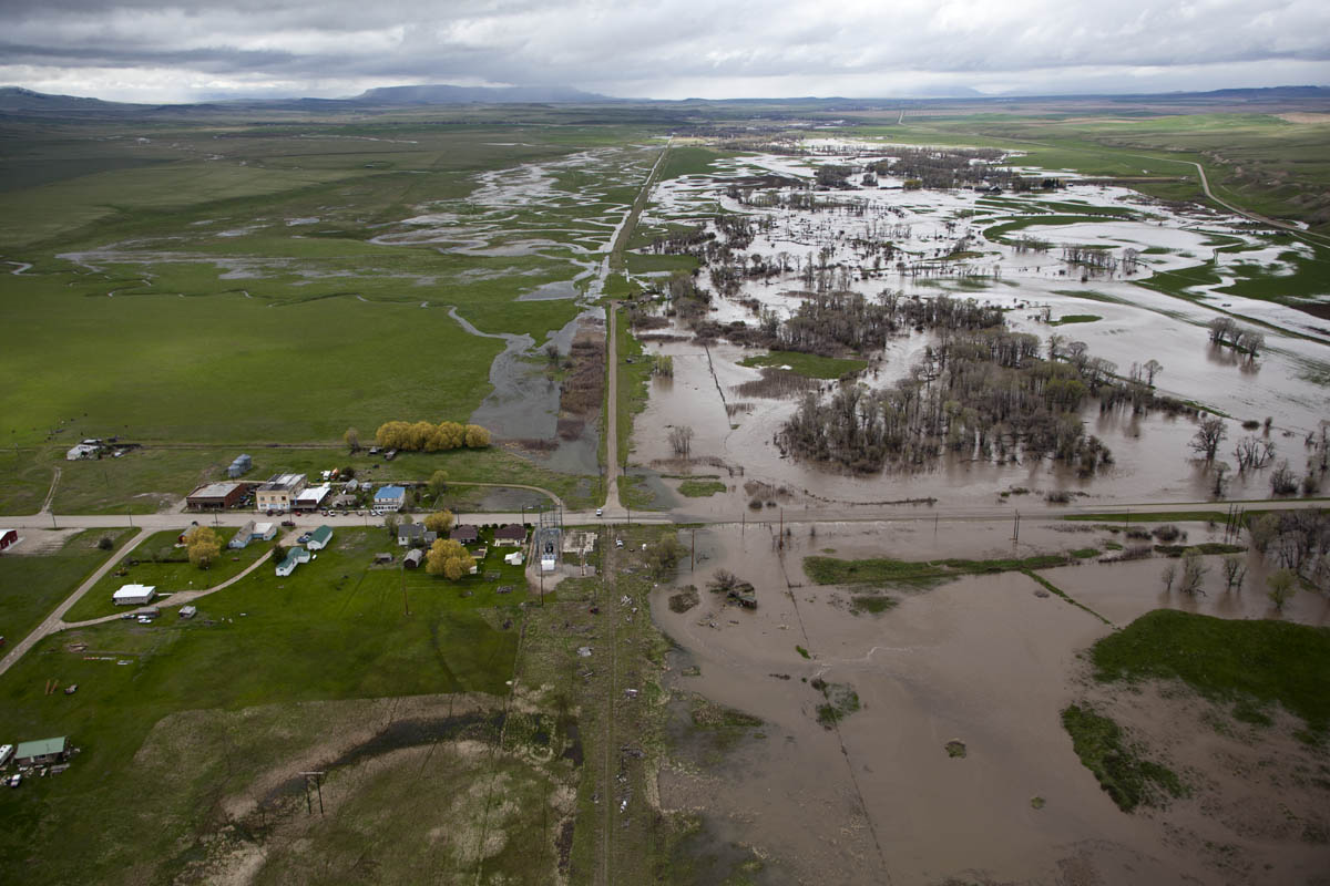 Musselshell River floodwaters encroach on Two Dot, Montana.