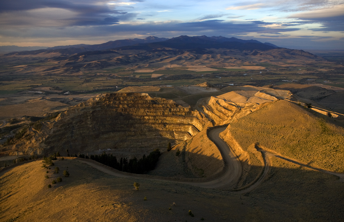 An open pit gold mine in southwest Montana, which extracted gold from low grade ore through cyanide vat leaching.