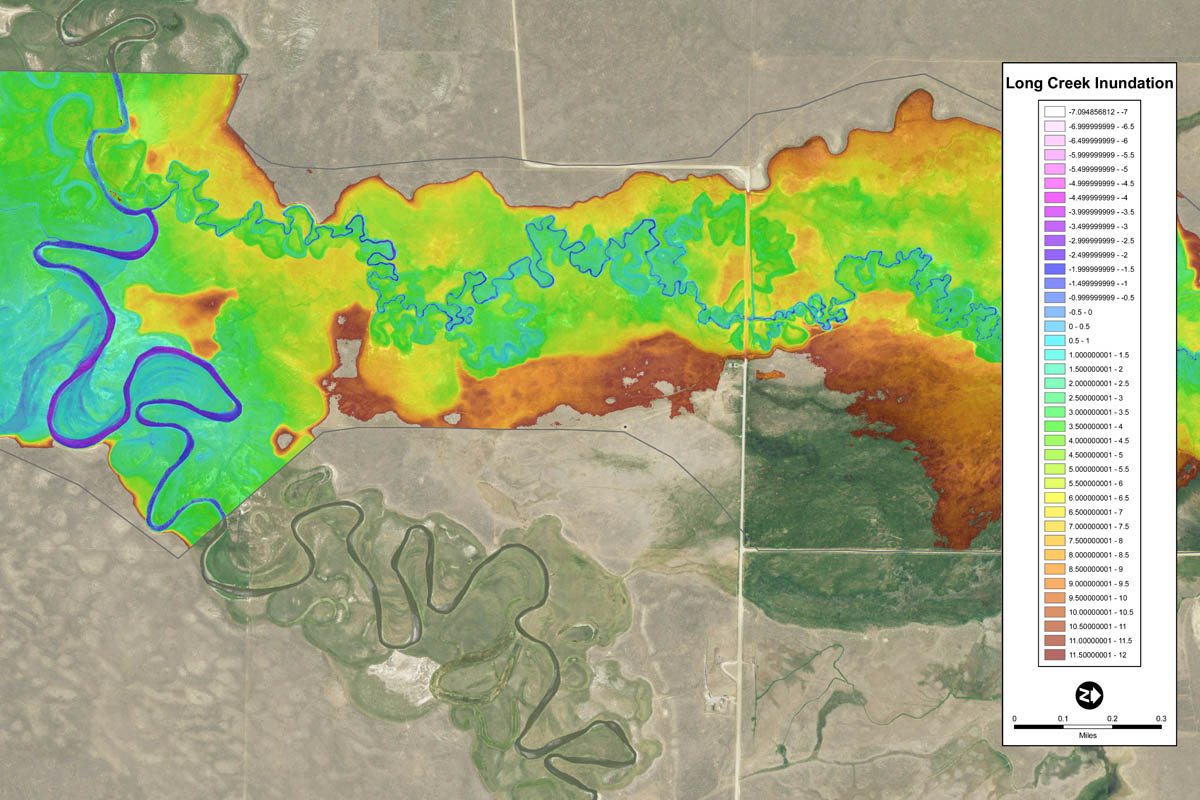 Inundation model showing streamflow characteristics in the Centennial Valley.