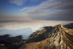 Mountain ridge above an inversion in the Gallatin Valley
