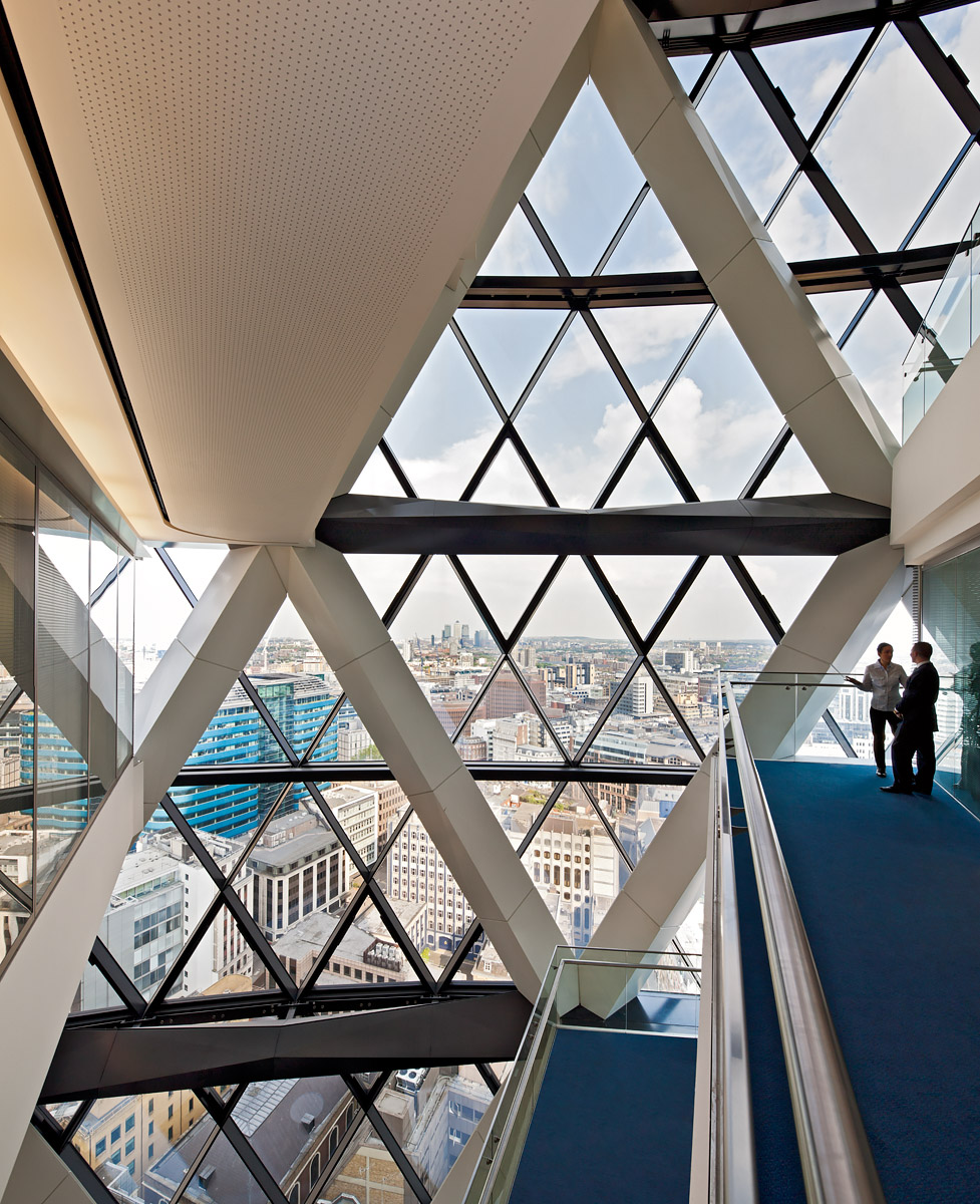 Intenal view of office breakout sections in Lord Foster's iconic tower.Client: Baizdon / Evans Randall