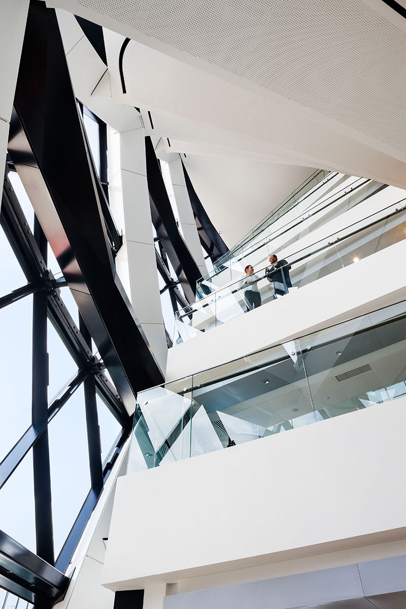 Intenal view of office floor levels in Lord Foster's iconic tower.Client: Baizdon / Evans Randall