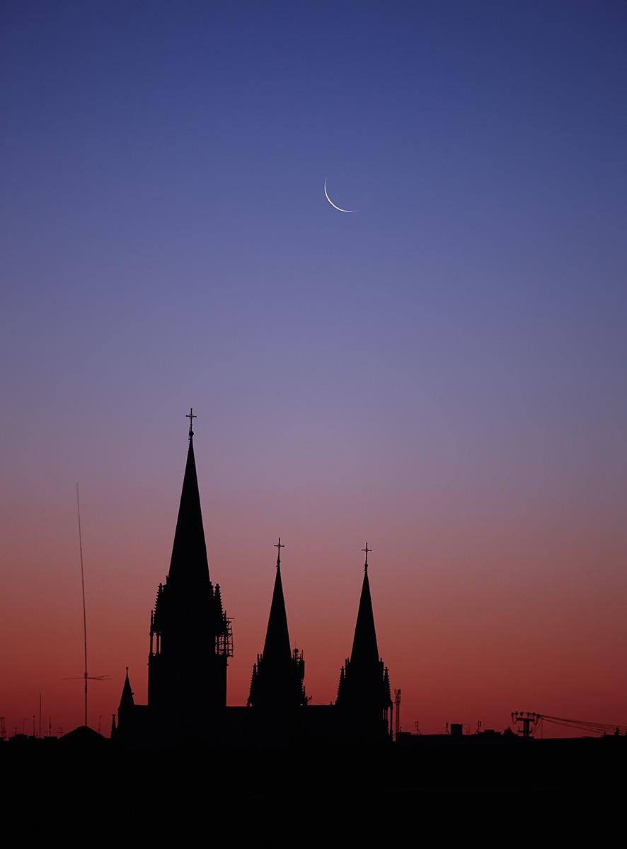 Moon over St Olha + St Elizabeth - Lviv, Ukraine