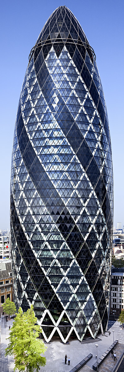 The only existing mutli composite image taken from many viewpoints to give true perspective scaled seamless view of Ken Shuttleworth's iconic building. Aproved by Lord Foster for use as Gherkin Guide. Client: Baizdon / Evans Randall