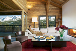 Luxury travel feature of timber chalet in picturesque alpine setting. Interior Design by Nicky DobreeClient: Telegraph Group
