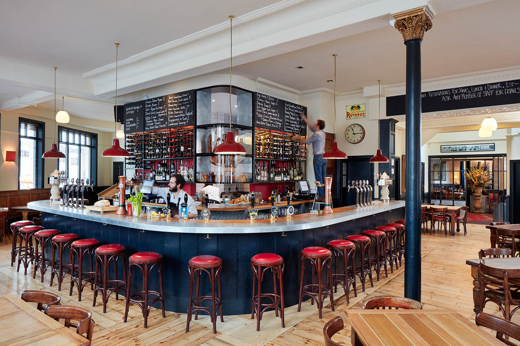 Sympathetic reworking of traditional London pub into brasserie style bar / restaurant maintaining original features. Client: St John's Tavern