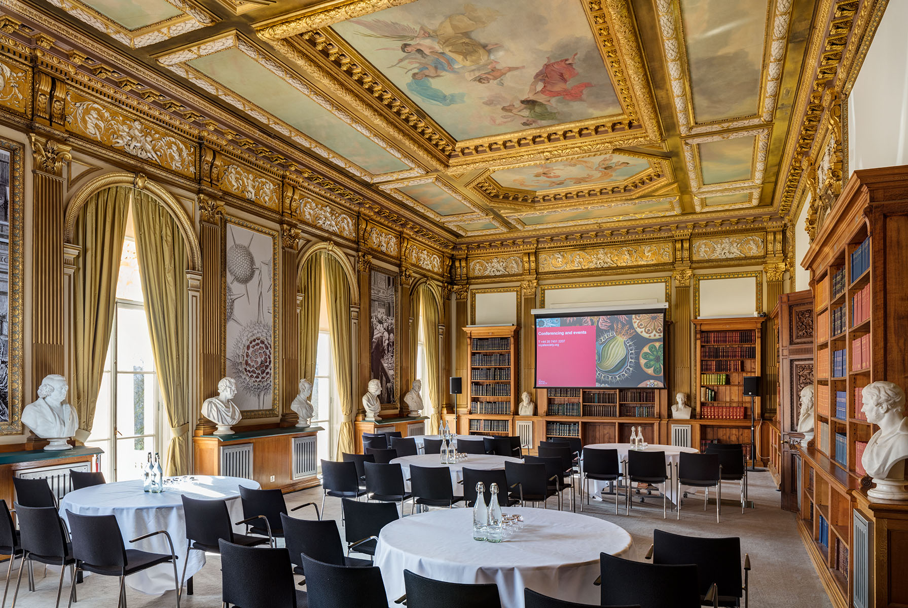 Lecture set-up in ornate HQ of worlds oldest scientific academy.Client: Royal Society