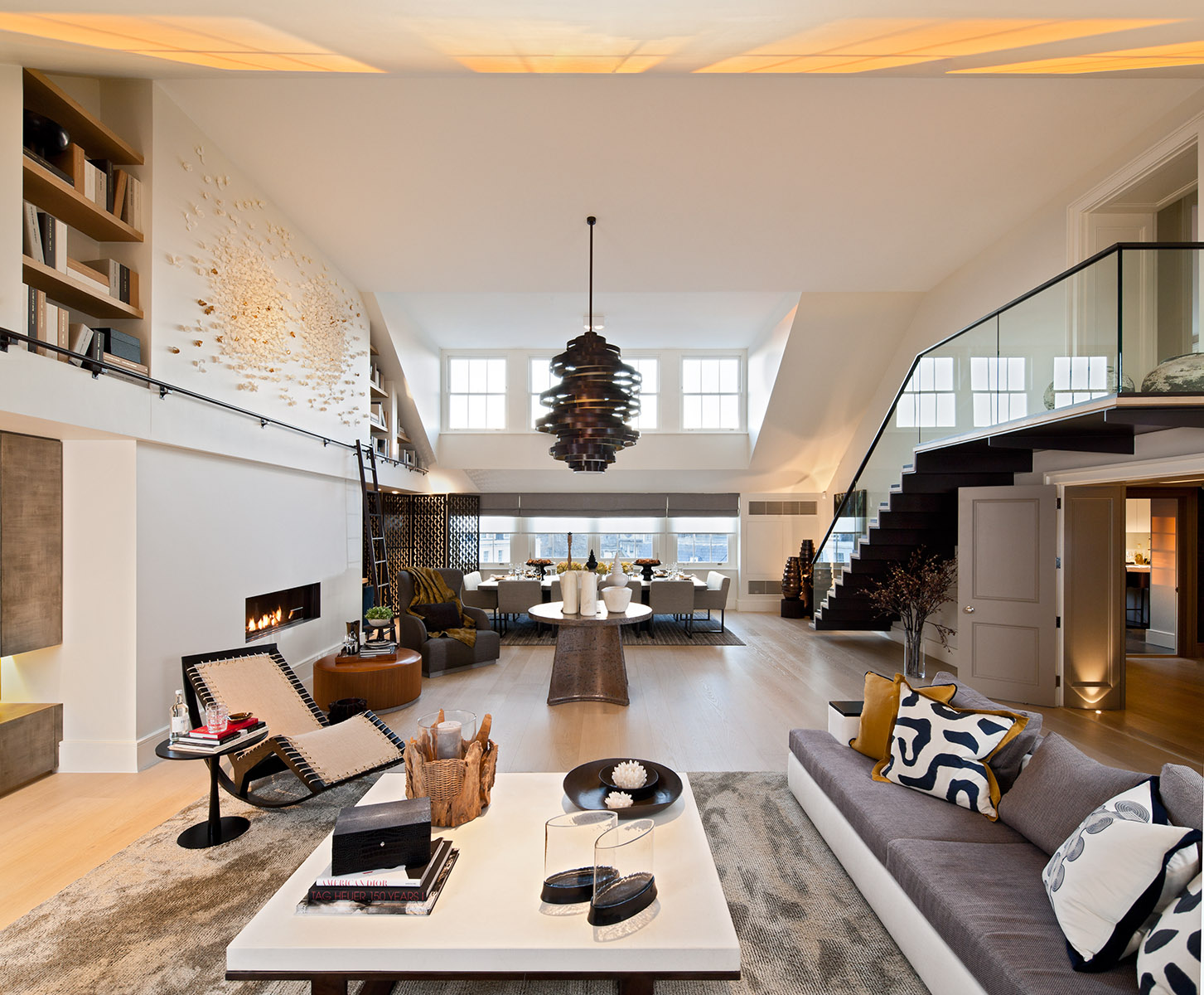 Photograph of contemporary high-end living area of interior in super-prime Hyde Park apartment