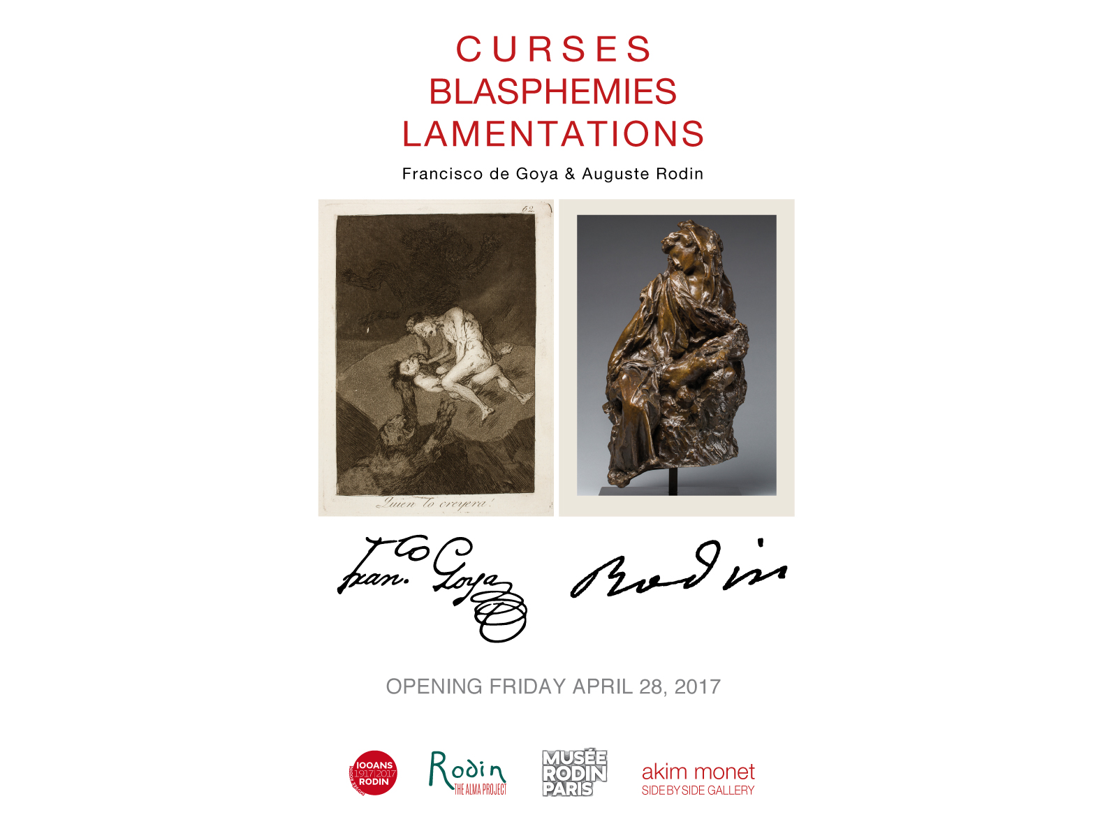 OPENING DURING BERLIN GALLERY WEEK-ENDCURSES, BLASPHEMIES, LAMENTATIONS: Francisco de Goya & Auguste Rodin will be inaugurated on Friday April 28, 2017 6 - 9 pm during GALLERY WEEK-END BERLIN 2017.Meanwhile, please click here view our 2017 ANNIVERSARY eCATALOGUE presented in association with the Musée Rodin, Paris.