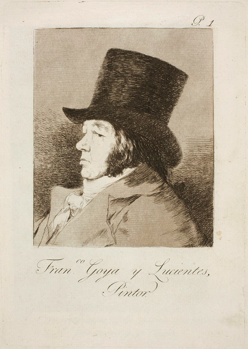 Francisco DE GOYA Y LUCIENTES (1746-1828)1. Francisco Goya y Lucientes, pintor1. Francisco Goya y Lucientes, painterBorn in rural Aragón in 1746, Goya was exposed to the artistic world from an early age, as his father was a gilder.  This would have allowed the young Goya to experience contact with the artistic and professional world first hand from a young age.  After studying and working for a few years under Luzán in Zaragoza and Francisco Bayeu in Madrid, Goya enhanced his position at court and ingratiated himself with the wealthy and the powerful through numerous commissioned works.Aquatint and etching31 x 41 x 3 cm