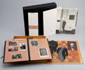 [Marcel Duchamp (1887 - 1968)]Wood box reproducing Marcel Duchamp's Mental Chess Board from 1937 and containing an exhibition catalogue (64 pp 13 3/8 x 4 1/4 in; 340 x 107 mm, complete with the price list); a portfolio containing reproductions and facsimiles of Marcel Duchamp's works, also including H. Vuibert, Les Anaglyphes Geometriques, Paris Librairie Vuibert, 112 (with 3D glasses); a book of articles on Duchamp by Andre Breton and Arturo Schwarz (inserted, on separate sheet, a reproduction of Le Grand Verre); an audiocassette of Duchamp speaking {quote}Priere d'ecouter{quote} with, on top of it, a miniature reproduction of Enrico Donati's breast from 1947; a single photograph of {quote}Marcel Duchamp at the Age of 85 for View; a colophon.14 1/2 x 14 1/4 x 2 1/4 in (37 x 36.5 x 6 cm)Numbered 417/850 on the inside coverEdited on the occasion of the exhibition {quote}Marcel Duchamp,{quote} Antwerp: Ronny Van de Velde, 1991Please click HERE for full fact sheet