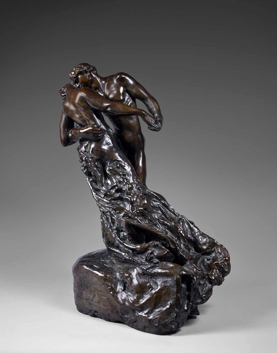 """Camille CLAUDEL (1864-1943)Bronze with nuanced brown patinaHeight: 46 cm (18 1/8 in.)Conceived in 1895, the present bronze cast was executed ca. 1996 in an edition of 12, numbered 1/8 to 8/8 and I/IV to IV/IV, from the polychrome plaster acquired directly from Camille Claudel by her doctor Alexandru Slatineau (1873-1939) between 1898 and 1902.Signed and titled """"La Valse / C. Claudel"""" on the front of the base, numbered """"E.A. IV/IV"""" and with foundry mark """"Fonderie de la Plaine"""".PROVENANCEThe artist's familyPrivate Collection, France (acquired from the above)AUTHENTICATIONThis work is accompanied by a certificate of authenticity numbered 00220 and dated October 24, 2001, issued and signed by Mme Reine-Marie Paris, the great-niece of the artist.LITERATUREReine-Marie Paris, Camille Claudel re-trouvée, Catalogue Raisonné, Les Éditions Aittouarès, Paris 2001, nr. 28-4, p. 292 (the original plaster ill.), this cast listed.NOTESWe are indebted to Christie's for the following, referring to another cast:According to Reine-Marie Paris, there are [several] versions of La Valse. In the present sculpture the man is kissing the woman's cheek, and not her neck as is depicted in other […] versions. Additionally, his hand covers the female's hand and the drapery is more accomplished in [the present version].Claudel began La Valse, première version in 1892 and from her first study she created a life-sized plaster, which she exhibited at the Salon of 1893. During this period Claudel was working closely with Rodin, whom she had met in 1883. She not only worked the hands and feet on some of Rodin's larger pieces but also was model to many of Rodin's most important compositions, such as La Pensée (1886) and L'Adieu (1882). There is even speculation that she may have helped carve some of his marbles. Rodin openly pronounced Claudel his equal as a sculptor and they pursued similar themes in their work. The theme of lovers had been explored by Rodin in some of his most important compositions """