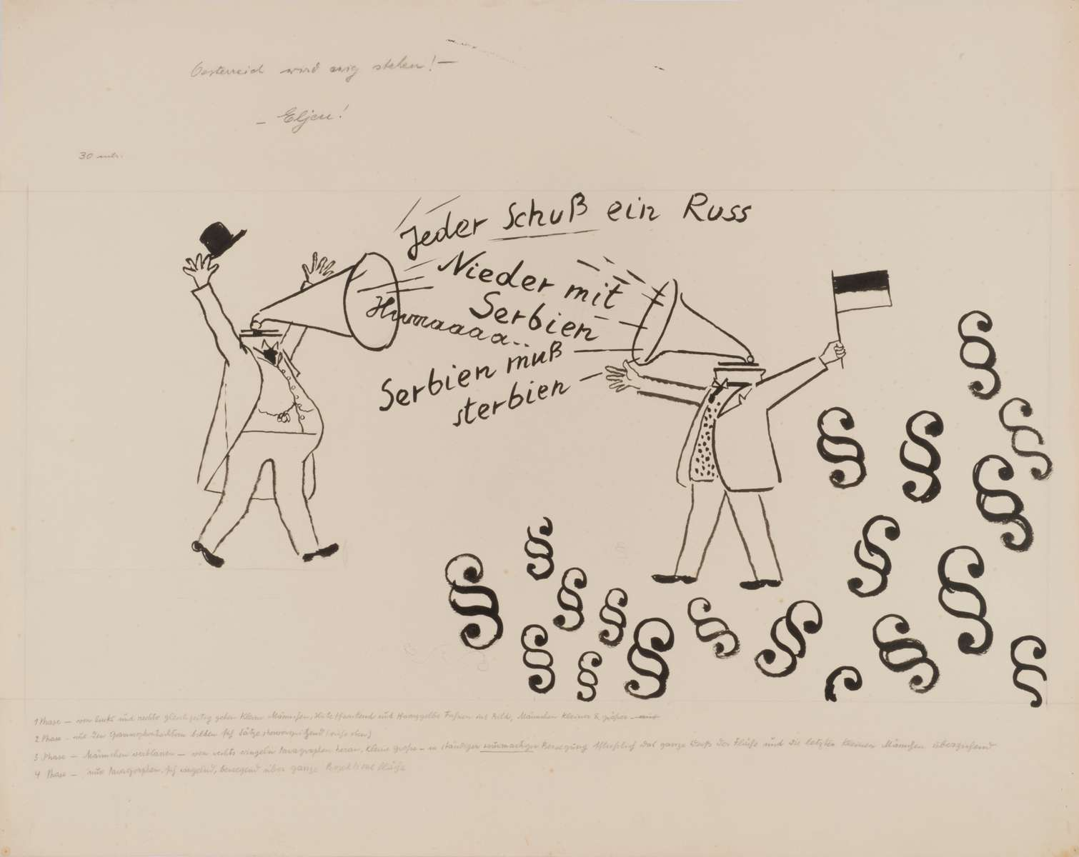 George GROSZ (1893 - 1959)Everyone shoot a Russ (ian)Jeder Schuss ein RussDrawing for the background projection for SchwejkBrush, reed pen and pen and ink20 ¼ x 25 ½ in (51,4 x 64,9 cm)Please click HERE for full fact sheet