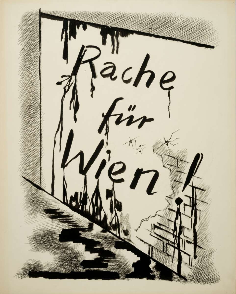 George GROSZ (1893 - 1959)Revenge for ViennaRache für WienBrush, reed pen and pen and ink on paper25 9/16 x 20 9/16 in (65 x 52,3 cm)Please click HERE for full fact sheet