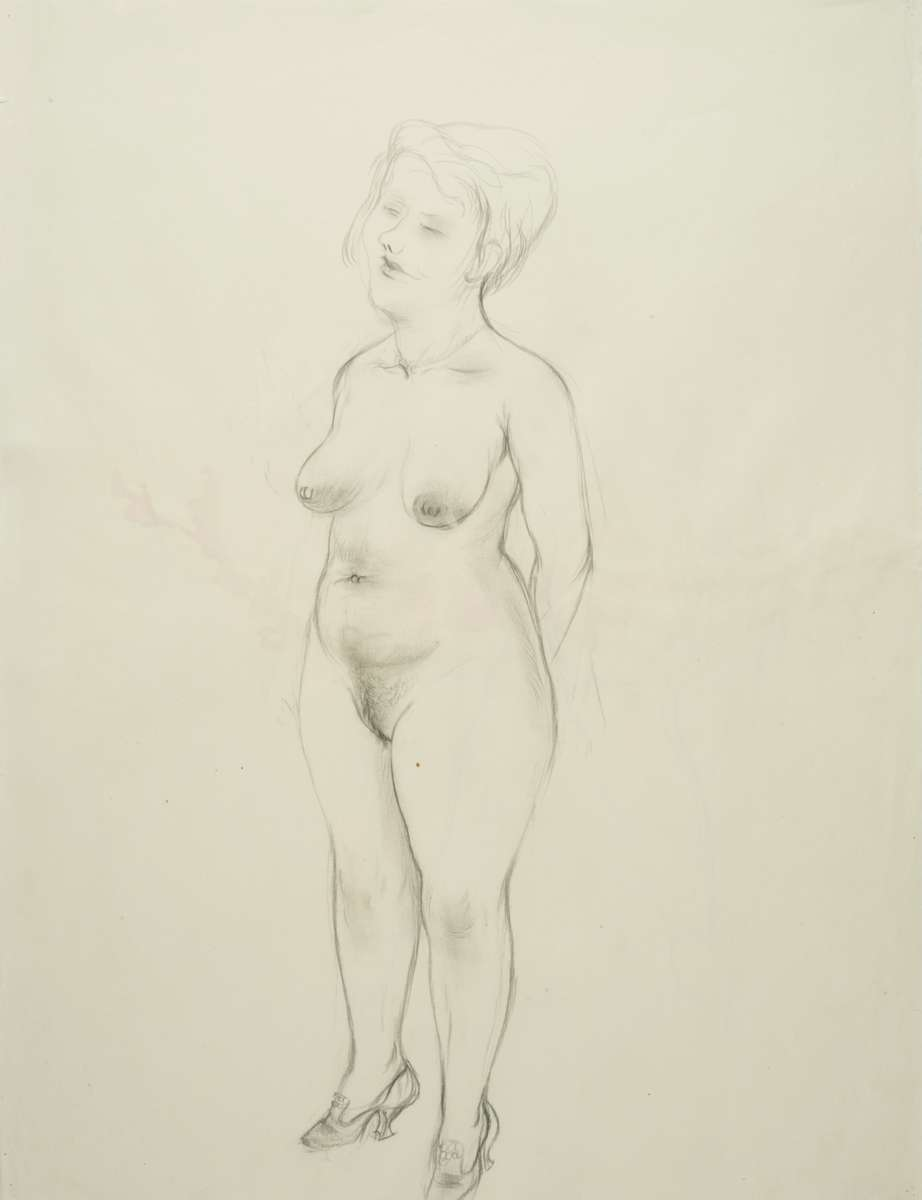 George GROSZ (1893 - 1959)Recto: Standing female NudeStehender weiblicher AktVerso: Bending Nude from the BackSich beugender RückenaktPencil, carpenter's pen and charcoal on paper23 5/8 x 18 1/8 in (60 x 46,1 cm)Please click HERE for full fact sheet