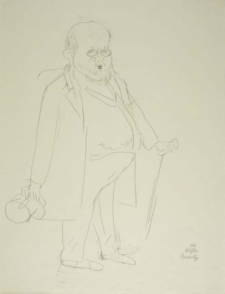 "George GROSZ (1893-1959)Pencil on paper60,1 x 46,2 cmAnnotated lower rightStamped on the reverse ""GEORGE GROSZ NACHLASS"" and numbered UC-407-25Costume designs for ""Der Kandidat"" by Carl Sternheim, play in four acts after the work of Gustave Flaubert; Performance: Deutsches Theater, Kammerspiele, Berlin, January 27, 1930"