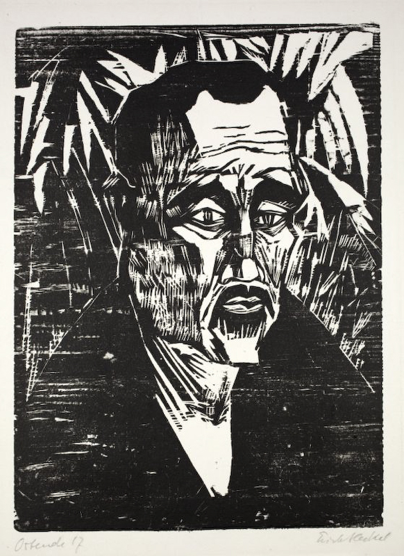 Erich Heckel (1883-1970)woodcuton laid paper with watermark {quote}SLG{quote}signed, dated and marked {quote}Ostende{quote}36,5 x 26,7 cm on 57 x 43 cm.Dube H 311Erich Heckel (1883-1970)Holzschnitt Auf Bütten mit Wz. {quote}SLG{quote}Signiert, datiert und mit {quote}Ostende{quote} bezeichnet36,5 x 26,7 cm auf 57 x 43 cm.Dube H 311