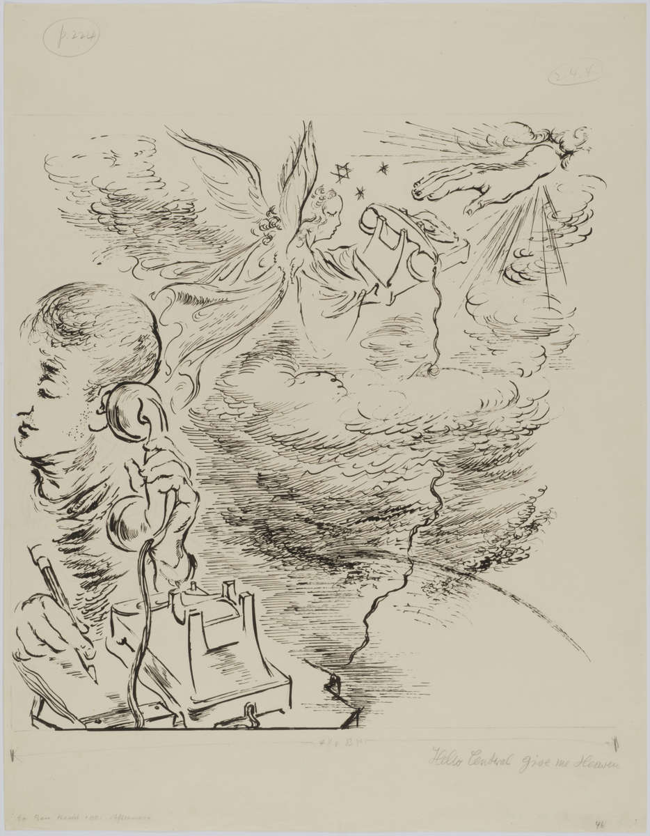 """George GROSZ (1893 - 1959)Reed, and pen and ink23 1/4 x 18 1/8 in (59,2 x 46,1 cm)Annotated {quote}Hello Central give me Heaven{quote} bottom right and {quote}to Ben Hecht 1001 Afternoon{quote} bottom left. Inscribed {quote}p. 224{quote} top left and numbered 244 top right and 46 bottom rightStamped on the reverse """"GEORGE GROSZ NACHLASS"""" and numbered 4-51-4Please click HERE for full fact sheet"""
