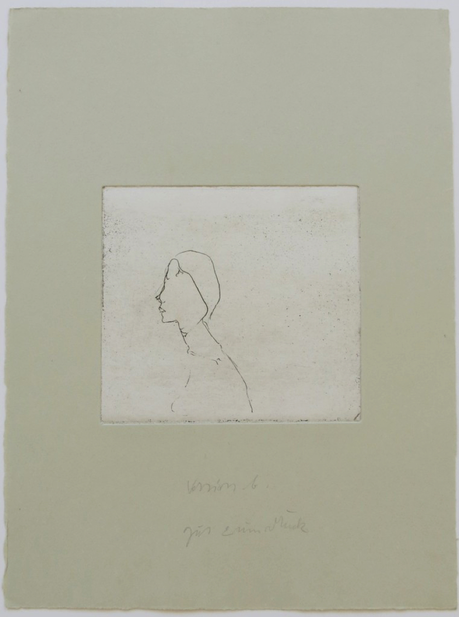 Joseph BEUYS (1921-1986)Etching on gray handmade paper37,8 x 28 cmInscribed middle 'version b. good to print'Inscribed on the reverse 'No 28 II'Print with the artist's handwritten printing notes prior to the Edition of 75 + XXV + 27 HC + a few APsSchellmann 423