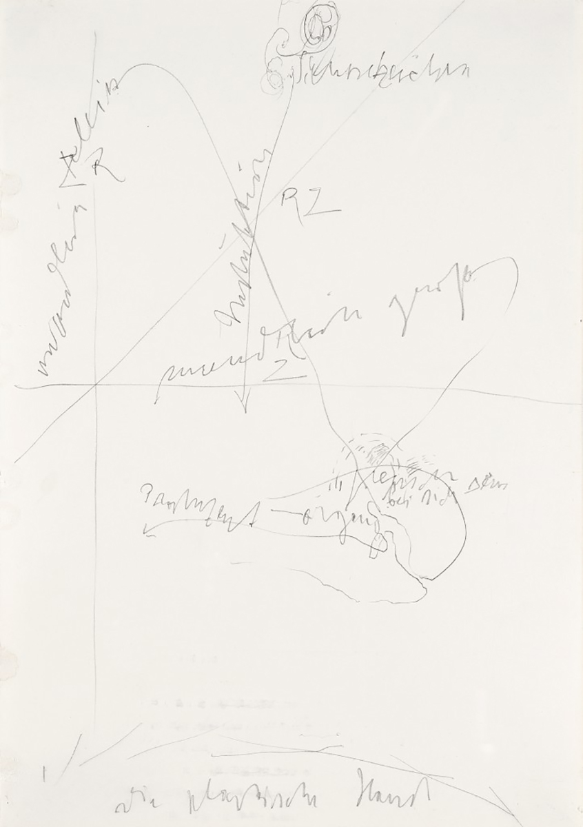 Joseph BEUYS (1921-1986)Pencil on paper29,8 x 20,9 cmInscribed along the lower edge 'Die Plastische Hand'