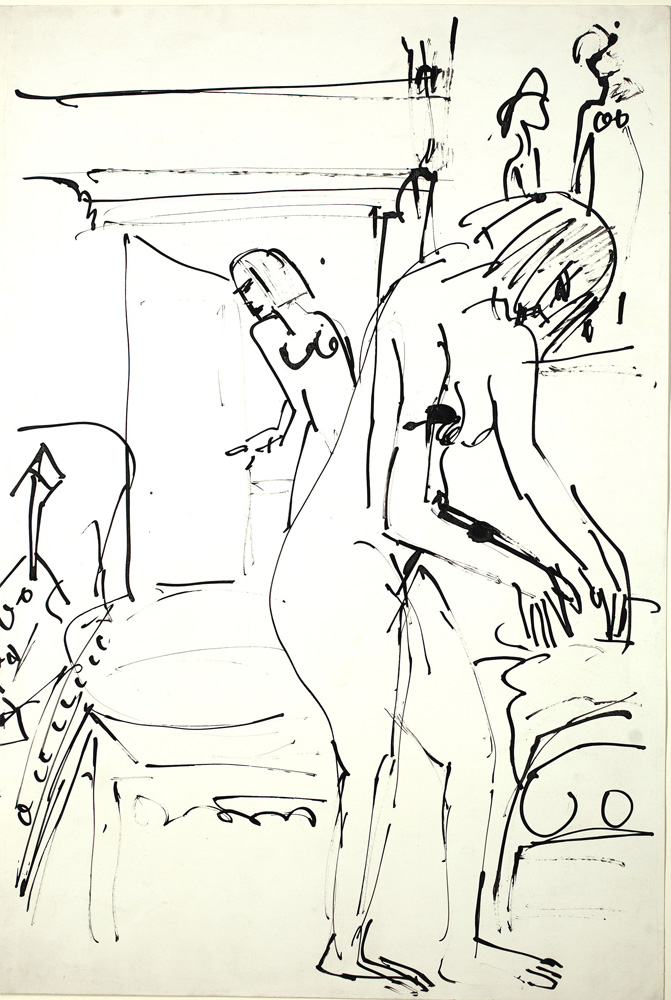 Ernst Ludwig KIRCHNER (1880 – 1938)Reed pen on paper52,5 x 36 cm (20 5/8 x 14 1/8 in.)Stamped on the verso with the estate stamp and numbered 'Fda/Bg 24' and numbered 'K 4227' and 'C 2644' in ink and penciland numbered '3859' in pencil.ProvenanceEstate of the artist
