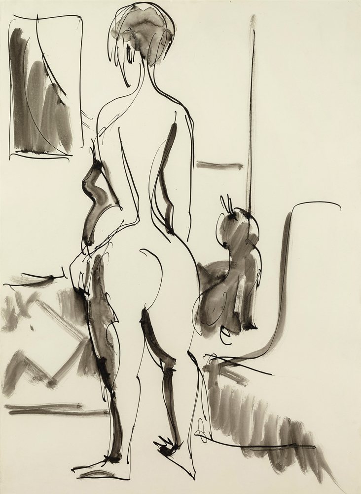 Ernst Ludwig KIRCHNER (1880 – 1938)pen an Indian ink, washed, on paper49 x 36 cm (19 1/4 x 14 1/8 in.)Stamped on the verso with the estate stampand numbered 'F Da/Bg 67' and 'K 4175' and 'C 2268'.ProvenanceEstate of the artist