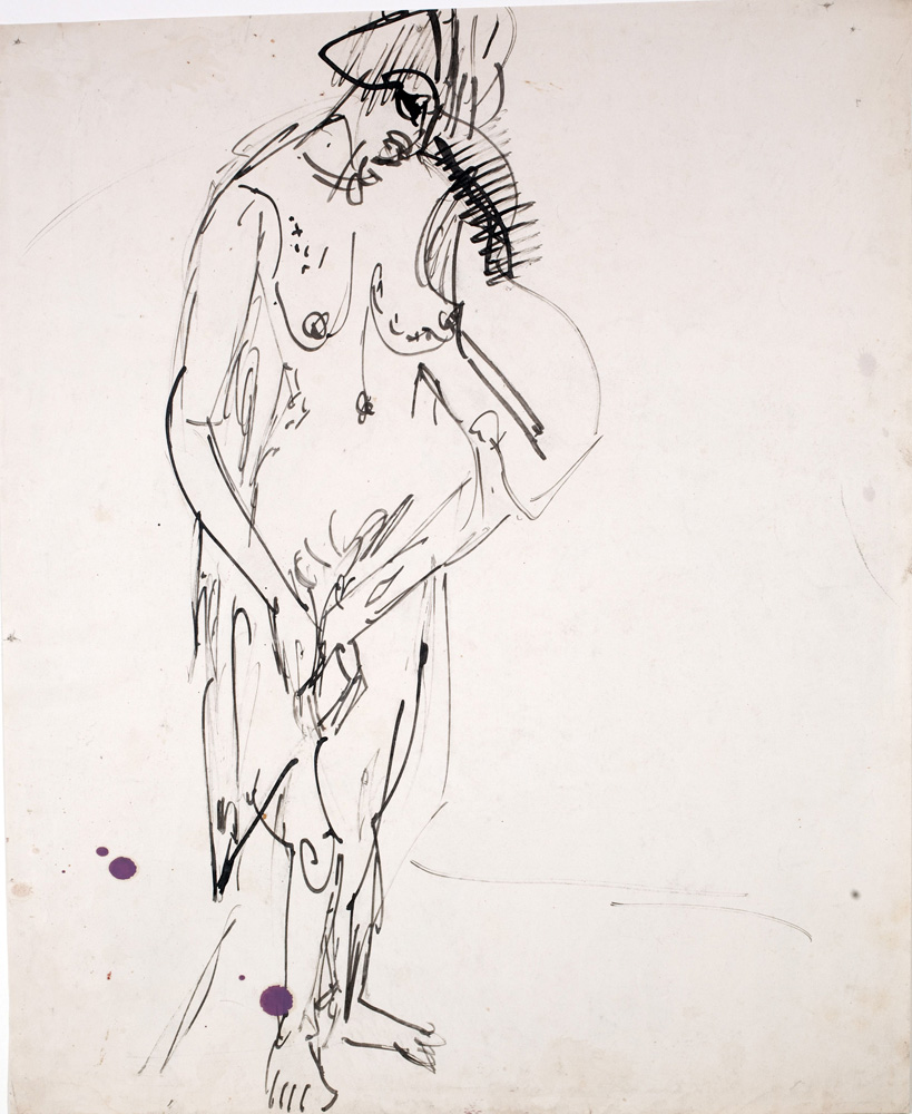 Ernst Ludwig KIRCHNER (1880 – 1938)Pen and India ink on paper47,5 x 39,3 cm (18 3/4 x 15 1/2 in.)Stamped on the verso with the estate stampand numbered 'K Be/Bg 71' andinscribed 'K 666' and '4298'.Verso: Mother and child at the hearth, 1920Black chalkProvenanceEstate of the artist