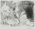 Pablo PICASSO (1881-1973)Pl. 90 from 'Série 156,' 1971 – Inscribed in the plate 'vendredi 19.3.71. I'Etching on Velin de Rives wove paper (Eau-forte)Full marginsImage size: 9 x 11 7/8 inches (22,86 x 30,16 cm)Paper size: 14 7/8 x 16 3/4 inches (37,78 x 42,54 cm)One of only three proofs pulled and printed within Picasso's lifetime by master printers Aldo and Piero Crommelynck, apart from and prior to the regular edition of 50 (1-50) with 15 (I-XV) proofs published posthumously in 1978 by Galerie Louise Leiris, ParisInscribed in pencil bottom-left 'Epreuve avant aciérage' (Proof before steel facing)Stamped bottom-right with Picasso atelier signature 'Picasso'Please click HERE for full fact sheet