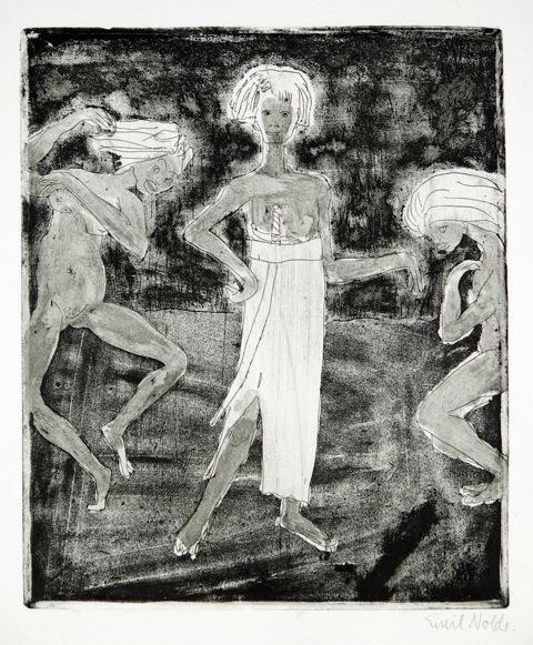 Emil Nolde (1867-1956)Etching (Line etching with tonal etching)On structured Van Gelder Zonen vellumTitIed twice at bottom edge of the sheet. Signed bottom right.26 x 22 cm on 58,5 x 44,5 cmSchiefler-Mosel R 196 IIRadierung (Strich- und Tonätzung)Auf kräftigem strukturiertem van Gelder Zonen-VelinIm Papierunterrand zwei Mal betitelt. Unten rechts signiert. 26 x 22 cm auf 58,5 x 44,5 cmWVZ-Nr. Schiefler-Mosel R 196 II