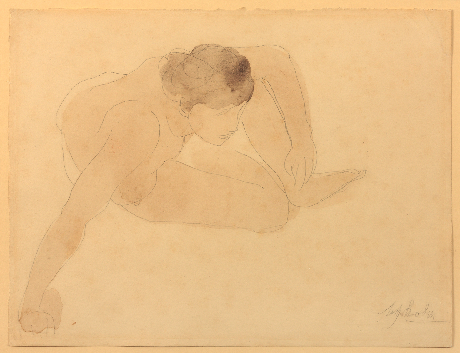 Auguste RODIN (1840-1917)Graphite and watercolor on wove paper mounted to original board25 x 32.5 cmMonogrammed in graphite at the bottom right: 'A. R.' and signed over it: 'Aug. Rodin'